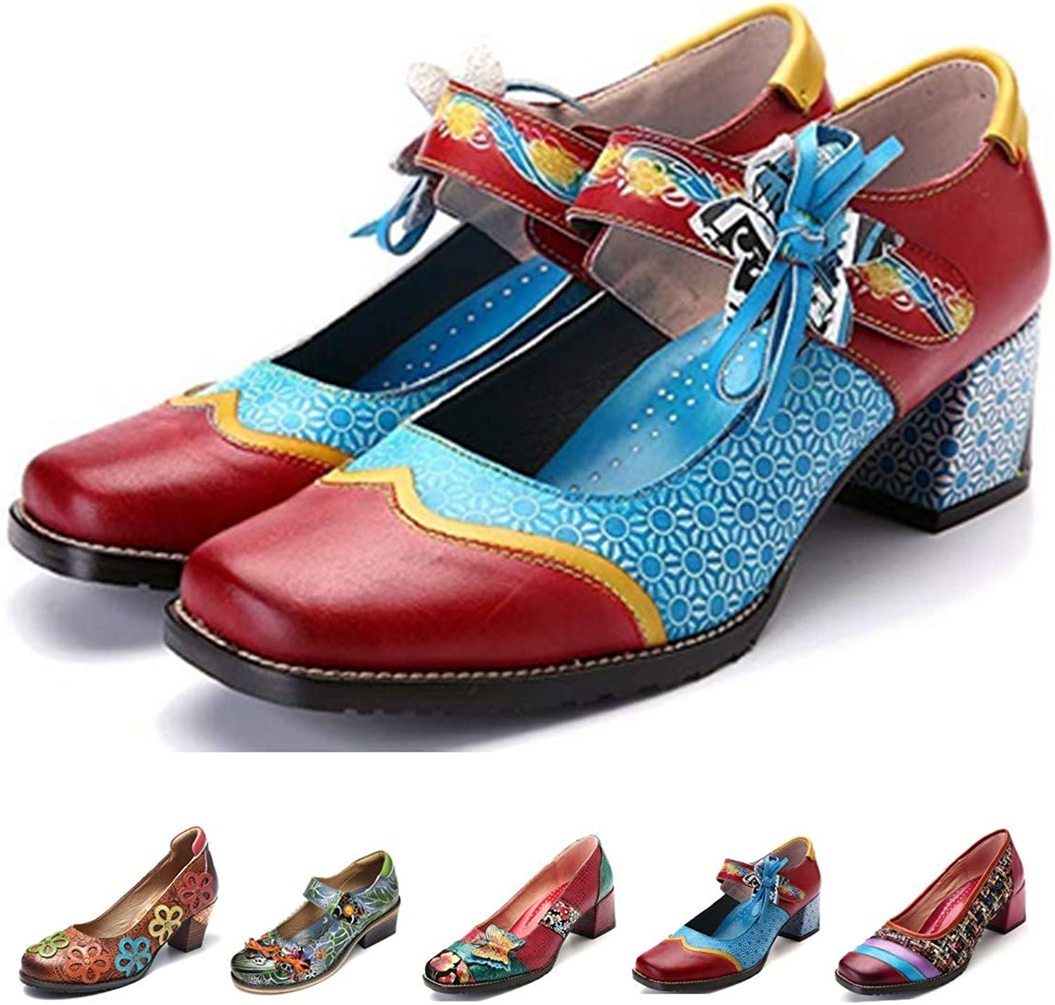 Gracosy Leather Pumps, Women's Wedge Sandals Mary Jane shoes Wedding Party Non Slip Buckle Ankle shoes