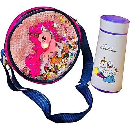 Le Delite Girl's unicorn sequence sling bag cute handbag with makeup kit ( Multicolour )