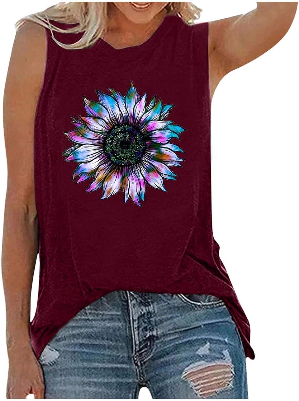 Womens Tops Summer Blouse,Women Sunflower Graphic Tank Tops Casual Sleeveless Workout Tee Shirts Blouse