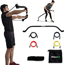 Gorilla Bow Portable Home Gym Resistance Bands and Bar System for Travel, Fitness, Weightlifting and Exercise Kit, Full Body Workout Equipment Set