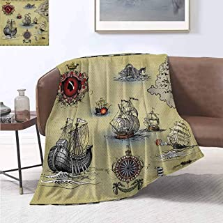 jecycleus Compass Children's Blanket Antique Old Plan Discovery Ship Pirate Wave Compass Navigation Geography Theme Lightweight Soft Warm and Comfortable W80 by L60 Inch Beige Red Grey