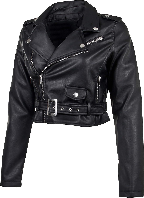 Women's Juniors Fashionable Cropped Faux Leather Moto Biker Jacket