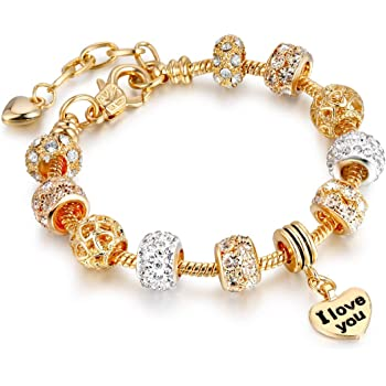 Ginger Lyne Collection Heart and Key Glass Bead Snake Chain Charm Bracelet