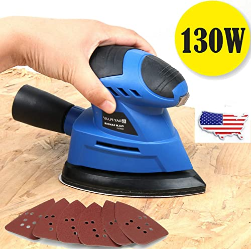 popular 130W 12000RPM Detail popular Sander with 6-Piece Sandpapers Efficient Dust Collection System for Wood Metal Polishing Furniture Finishing Woodworking Home Decoration DIY Palm Sander 2m 2021 Cord online