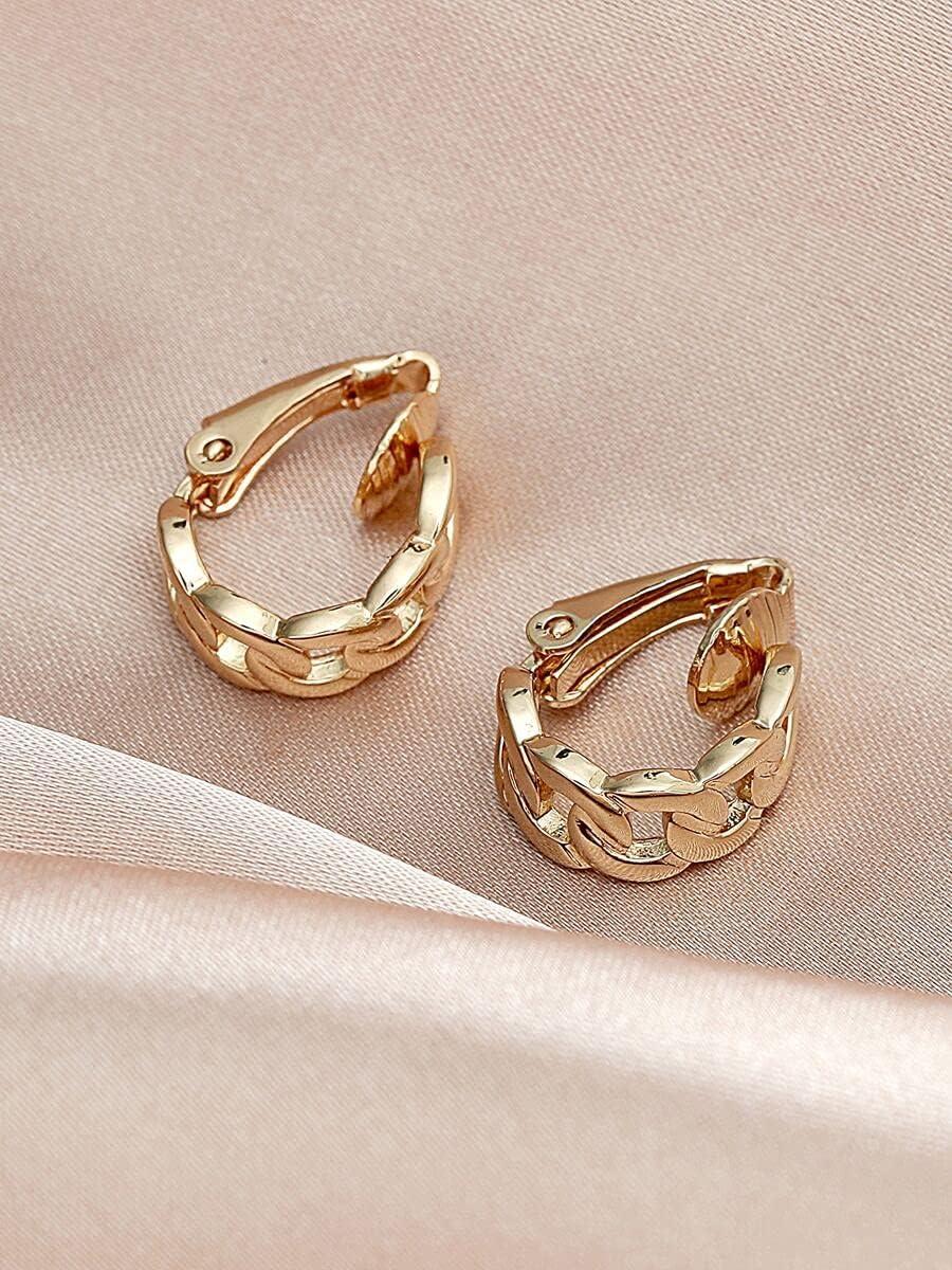 kgjsdf Hoop Earrings 2pcs Chain Design Ear Cuff (Color : Gold)