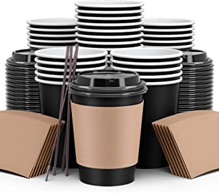 فناجين قهوة من تو جو 120 عبوة، فناجين قهوة ورقية مع اغطية وقش واكمام، فنجان قهوة ورقي قابل للاستعمال مرة واحدة من المشروبا...