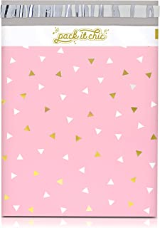 Pack It Chic - 12� X 15.5� (100 Pack) Pink Gold Triangle Confetti Poly Mailer Envelope Plastic Custom Mailing & Shipping Bags - Self Seal (More Designs Available)