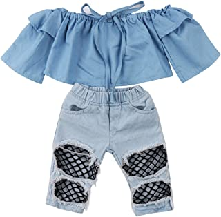 Baby Girls Clothes Denim Outfits Crop Top Shoudler Shirt +Ripped Fishnet Jeans Hole Pants Two Piece