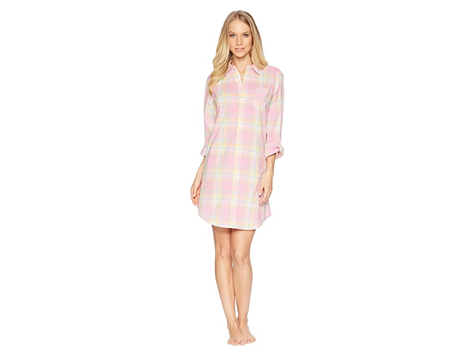 LAUREN Ralph Lauren Long Sleeve Roll Tab His Shirt Sleepshirt (Pink Plaid) Women