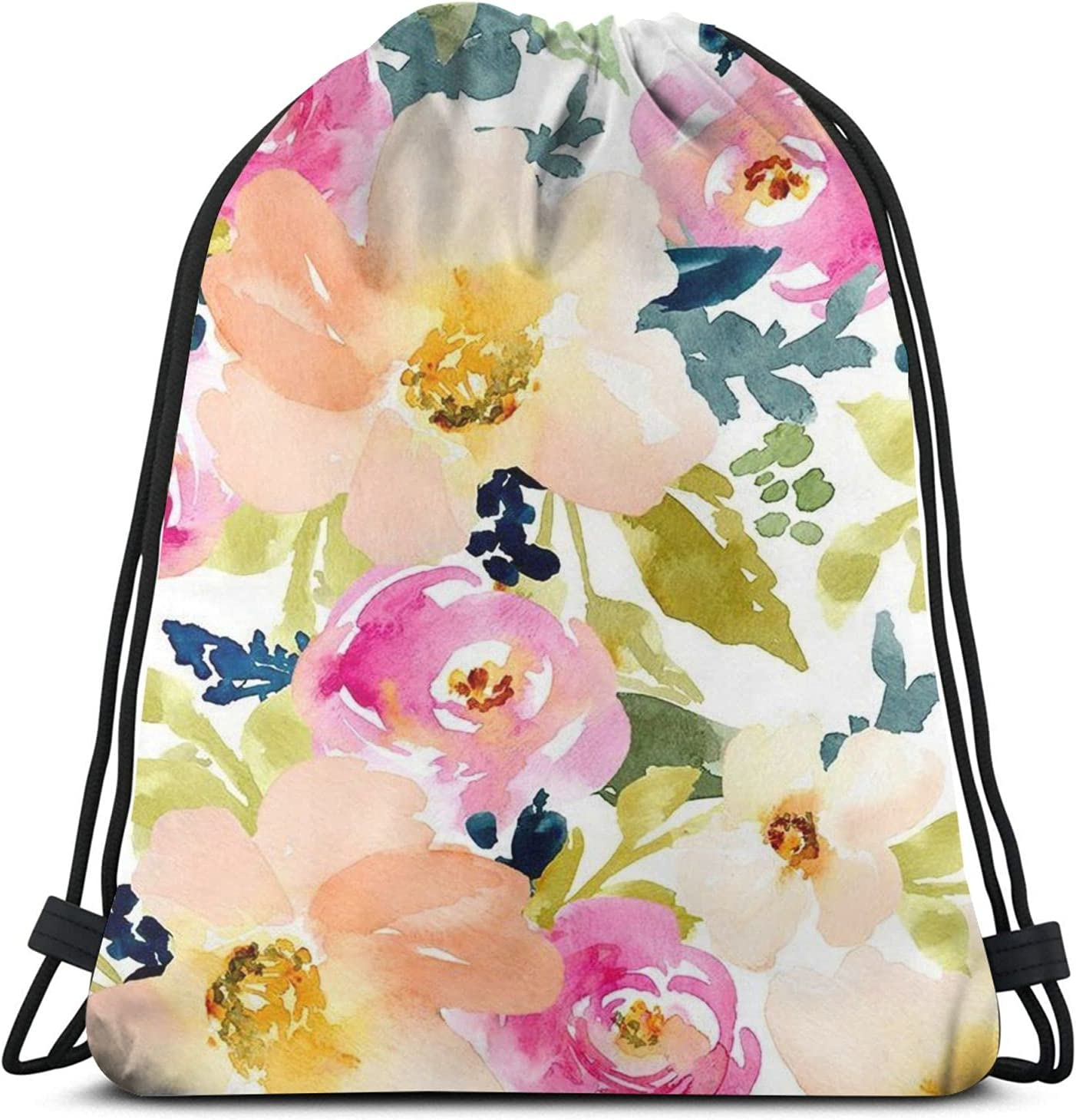 Watercolor Pink All stores Great interest are sold White Floral Flower Sport Gy Drawstring Backpack
