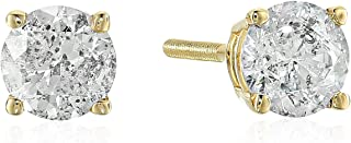 AGS Certified Brilliant-Cut Diamond Classic 4-Prong Screw-Back Stud Earrings in 14k White or Yellow Gold (J-K Color, I2 Clarity) - Choice of Carat Weights