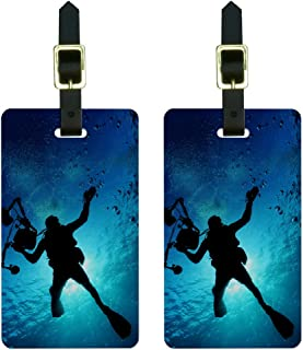 Graphics & More Scuba Diver-Diving Underwater Luggage Tags Suitcase Carry-on Id, White