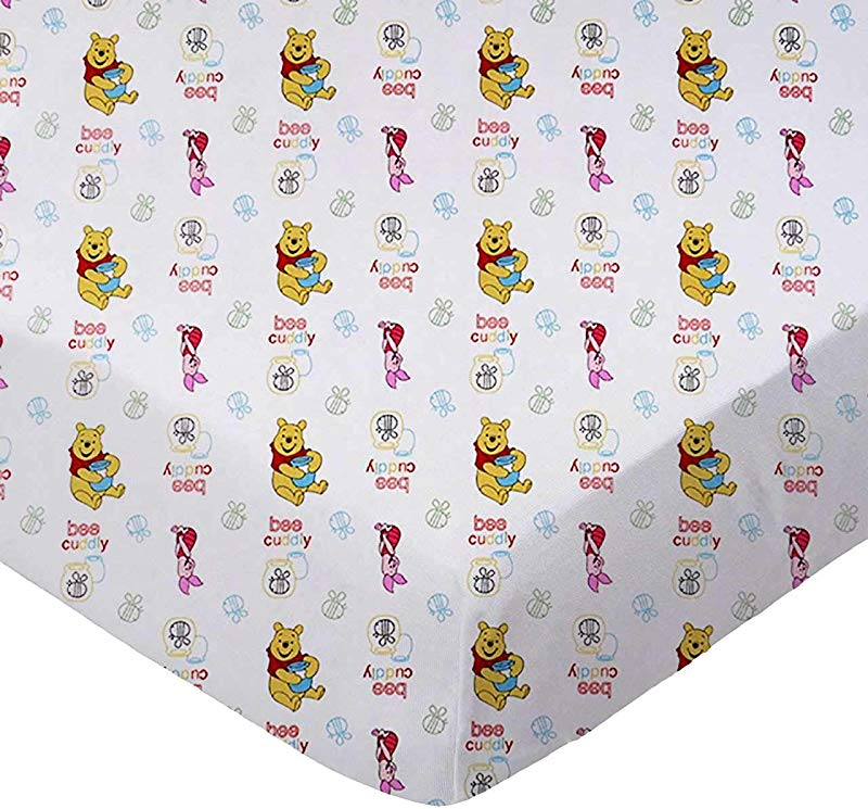SheetWorld Fitted 100 Cotton Percale Portable Mini Crib Sheet 24 X 38 Pooh Bee Cuddly Made In USA