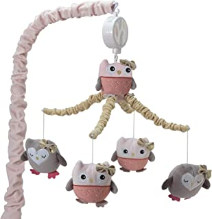 Lambs & Ivy Family Tree Coral/Gray/Gold Owl Musical Mobile
