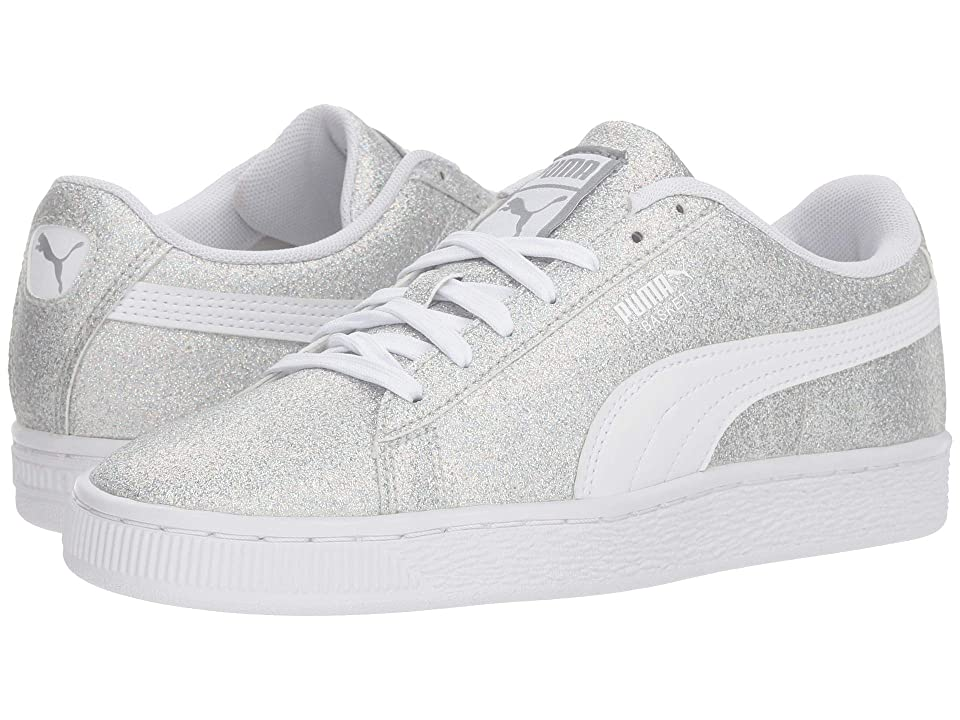 Puma Kids Basket Holiday Multi Glitz Jr (Big Kid) (Puma Silver/Puma White) Girls Shoes