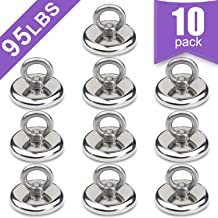 10 Pack of Super Strong Neodymium Fishing Magnets,Pulling Force Rare Earth Magnet with Countersunk Hole Eyebolt Diameter 1.26 INCH(32mm) for Retrieving in River and Magnetic Fishing