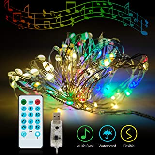 Lumary Music Sync 100 LED 33ft String Light, USB Powered Dimmable Fairy Lights with Timer and Remote Control, Waterproof Decorative Lights for Bedroom, Patio, Garden, Parties, Wedding, Christmas
