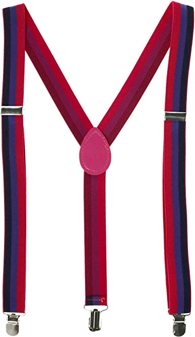 CTM Infants Elastic 1 Inch Wide Clip-End Rainbow Stripe Braces