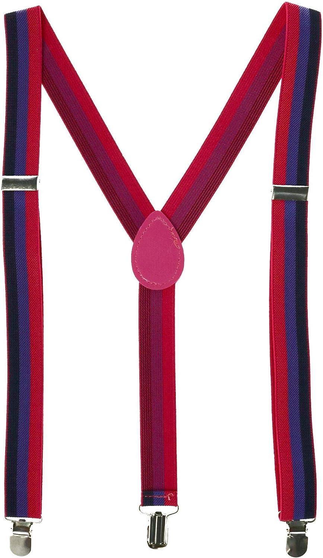 CTM Striped Bi Pride Clip-End Suspenders