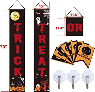 CKE Halloween Decorations Outdoor | Trick or Treat & Felt Cloth Pumpkin Banners Halloween Signs for Front Door or Indoor Home Decor | Porch Decorations | Halloween Welcome Signs