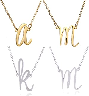 Initial Necklace 26 Letters from A-Z Stainless Steel Silver and Gold Color