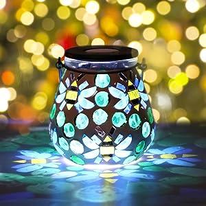 Solar Jar Lantern Mosaic Hanging Lights - Solar Lantern Outdoor Glass LED Jar Light Waterproof Lamp Garden Ornaments Outdoor Decoration for Patio, Table, Yard, Garden, Pathway Bee Pattern