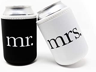Cute Wedding Gifts - Mr and Mrs Wedding Beer Can Coolers - Premium 4mm Thick Easy-On Supercoolies™ (Black and White) Set of 2
