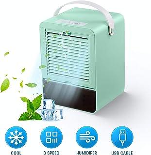 MXJFYY Acondicionador de Aire Portatil Enfriador de Aire Silencioso Air Cooler Humidificador con 3 Velocidades para Oficina en Casa (Verde)