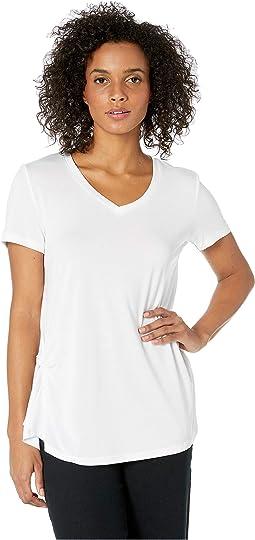 Light Jersey Knit Short Sleeve Top w/ Pleat Detail