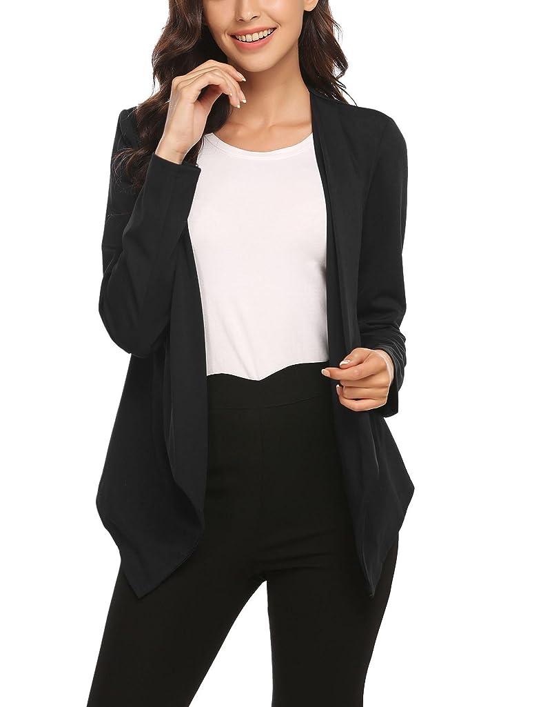 Zeagoo Women's Long Sleeve Casual Draped Asymmetric Hem Blazer Light Weight Open-Front Cardigan Blazer