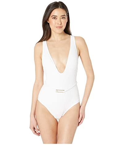 La Blanca Get To The Point Belted Plunge Mio One-Piece Swimsuit (White) Women