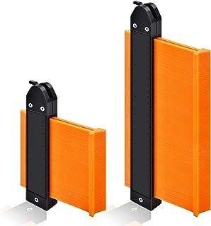 "Contour Gauge Duplicator with Lock, GOXAWEE Widen Shape Duplication Gauge Tool 5""& 10"", 2 Pack Master Outline Measuring Plastic Ruler for Corners, Woodworking Templates, Tiles and Laminate (Orange)"