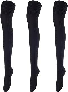 Women's 3 Pairs Fashion Thigh High Cotton Socks J1025 Size 6-9(US)