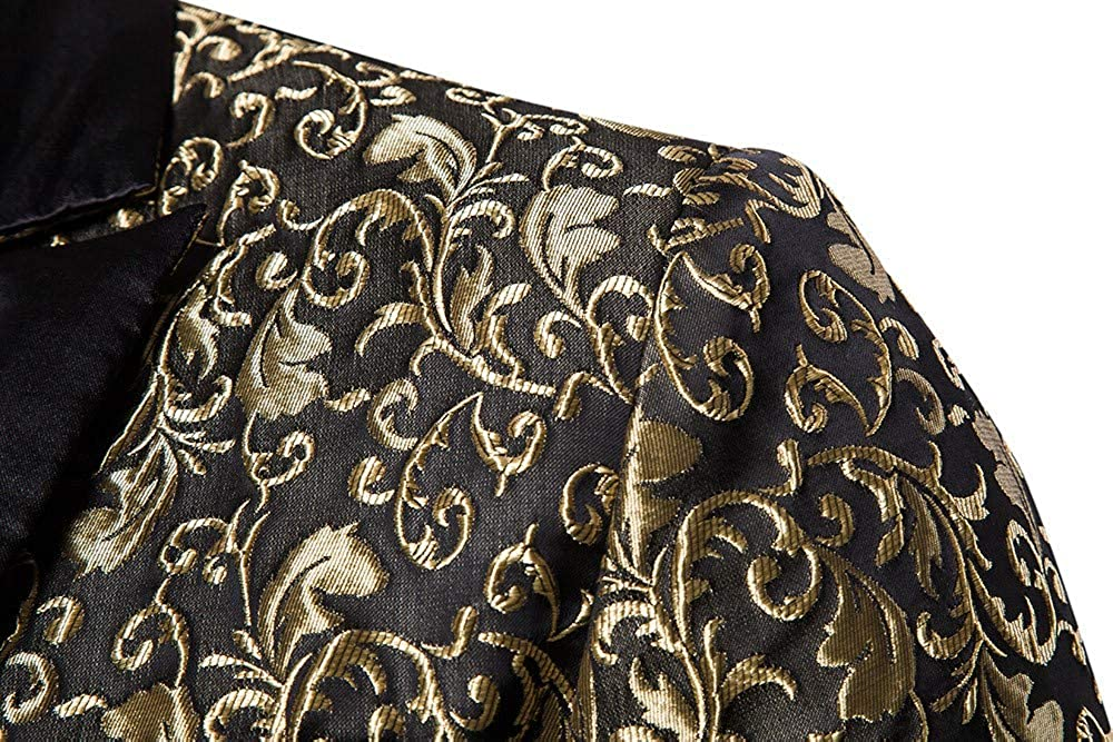 MODOQO Men's Slim Fit Luxury Sport Blazer Jacket Casual One Button Tuxedo