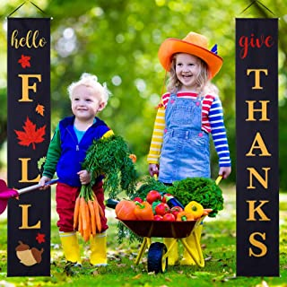 Hello Fall Give Thanks Banner Fall Thanksgiving Porch Sign Fall Harvest Hanging Banner with Acorn Maple Leaves Patterns, Fall Autumn Thanksgiving Yard Front Door Hanging Decor