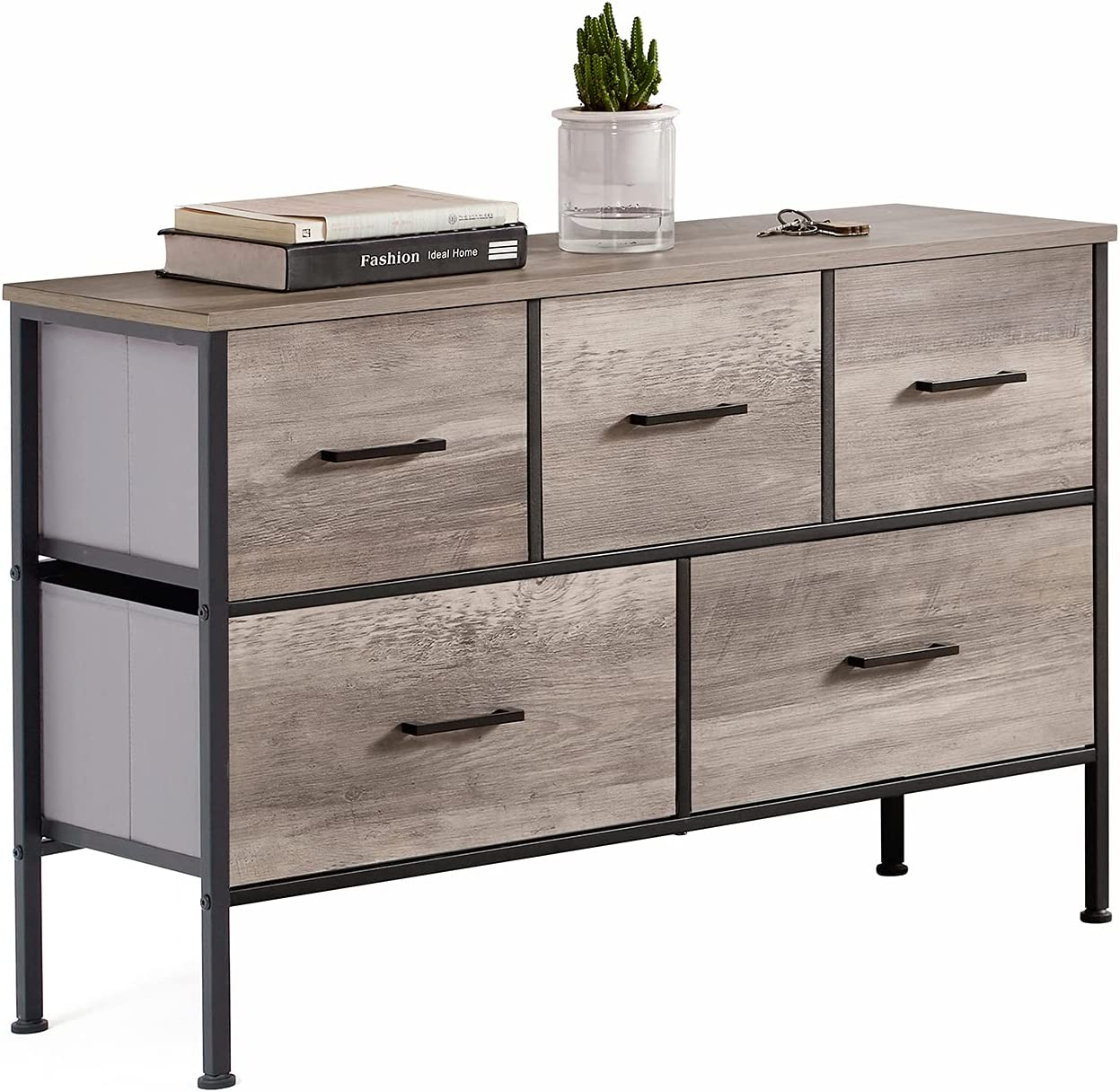 5 Drawer Dresser Long Wide Cheap Chest Nightstand Drawers of Wood with Dallas Mall