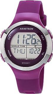 Armitron Sport Women's Quartz Sport Watch with Silicone Strap, Purple, 18 (Model: 45/7127PUR)