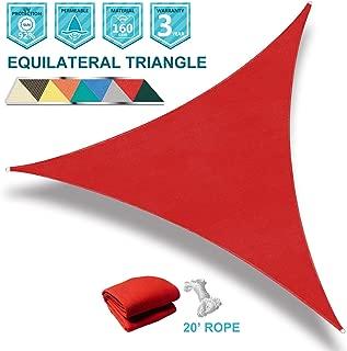 Coarbor 12' x 12' x 12' Triangle Red UV Block Sun Shade Sail Perfect for Patio Outdoor Garden