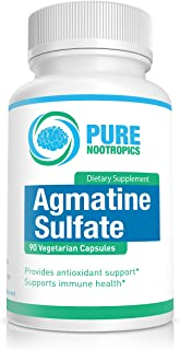 Pure Nootropics -Agmatine Sulfate 500 mg Capsules | 90 Veg Cap Value Pack | | Energy, Muscle Endurance & Workout Supplemen...