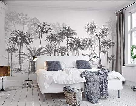 Papier Peint 3d Chambre Salon Black And White Sketch Tropical Rainforest Coconut Tree Nordic Background Wall Moderne Intisse Decoration Murale Amazon Fr Bricolage
