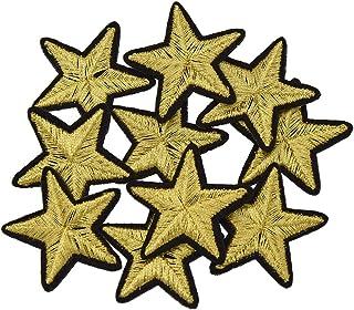YNuth 10pcs DIY Parche Termoadhesivo Bordado del Diseño de Estrella para Decoración de Ropas Color Dorado