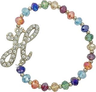 Monogram Initial Multi Color Glass Beaded Gold Tone Rhinestone Stretch Bracelet