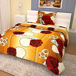 Story @ Home Fantasy 120 TC Cotton Single Bedsheet with Pillow Cover - Brown