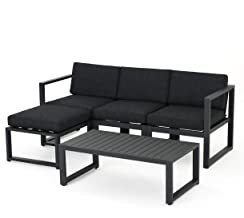 Christopher Knight Home 301092 Nealie Patio Furniture ~ 5 Piece Outdoor Aluminum Sofa Set (Dark Grey)