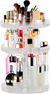 TRIXES Make Up Organiser – 360 Degree Cosmetic Organiser – 3 Tier Clear Acrylic Stand – Rotating Display – Crystal Design– Shampoo Conditioner Perfume Lipsticks for Bedroom Storage Vanity Unit