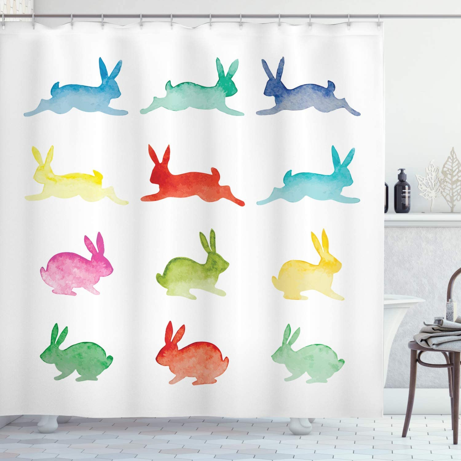 Lunarable Rabbit Shower Curtain Bombing free shipping Hand Drawn Selling and selling Watercolor Bunnies o