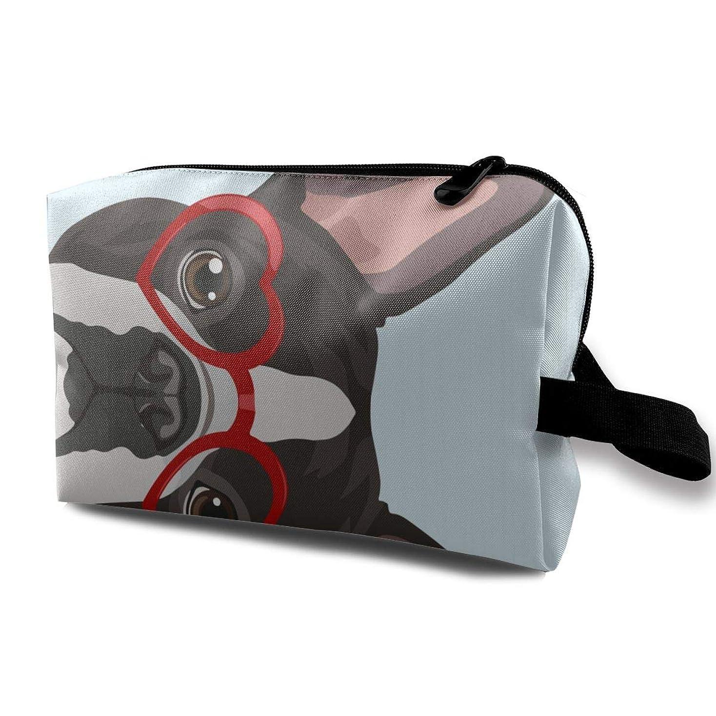 広く展望台キーメイクポーチ ボストン犬 トラベルポーチ シングルファスナーポーチ 大容量 トラベル コンパクト 旅行収納バック 化粧品収納 便利グッズ 旅行?出張?家庭用