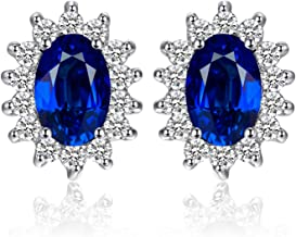 Jewelrypalace Gemstones Stone Birthstone Stud Earrings For Women 925 Sterling Silver Earrings For Girls Princess Diana William Kate Halo Earrings