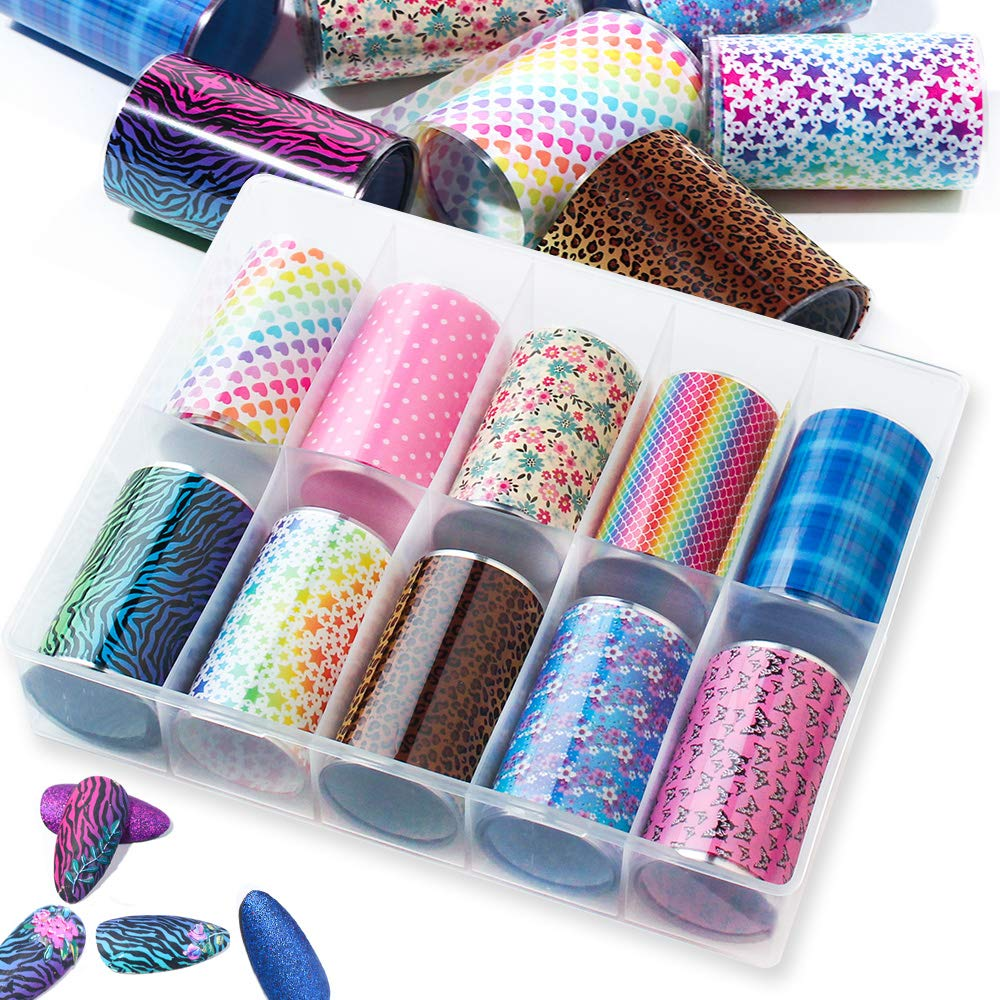 SILPECWEE 10 Large discharge sale Rolls Starry Sky Star K Transfer Stickers Nail Max 50% OFF Foil