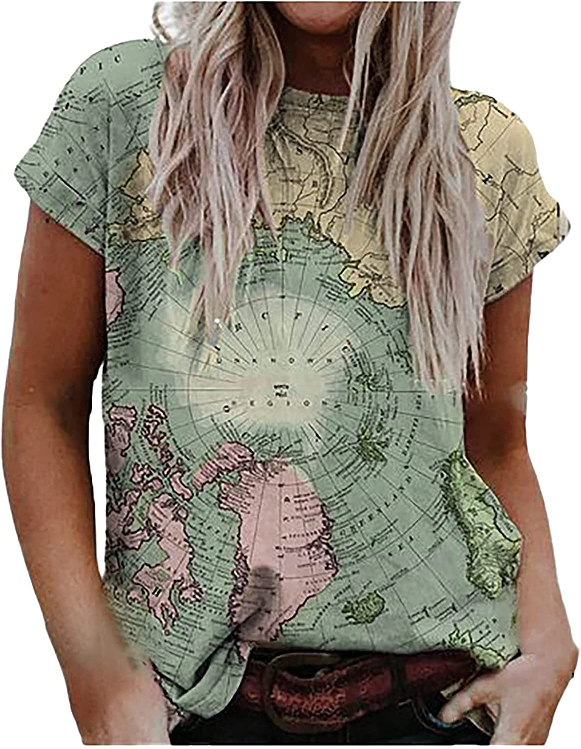 YANG-YI Women Vintage Ranking integrated Ranking TOP14 1st place Map Print Blouses Casual Shirt Fit T Loose
